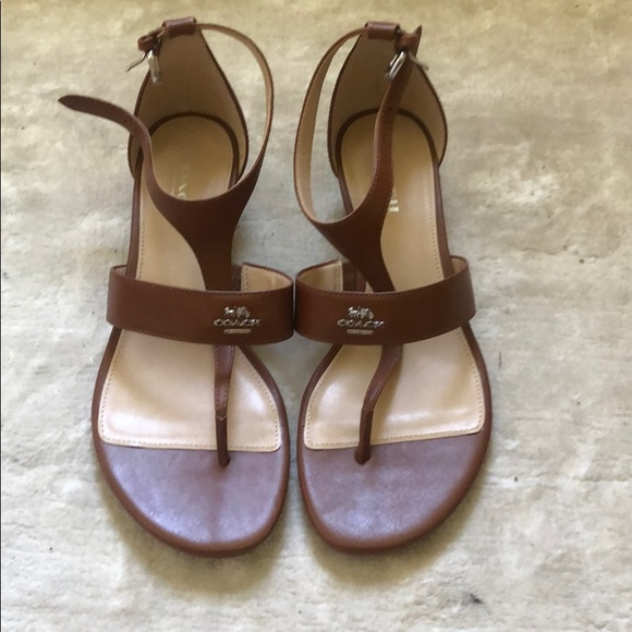 Coach Shoes - Brand New Coach Brown Leather Wedge Sandal Size 7